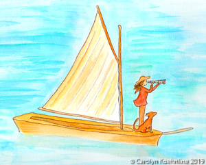 The Navigator: Woman on Boat with Spyglass © Carolyn Koehnline 2019